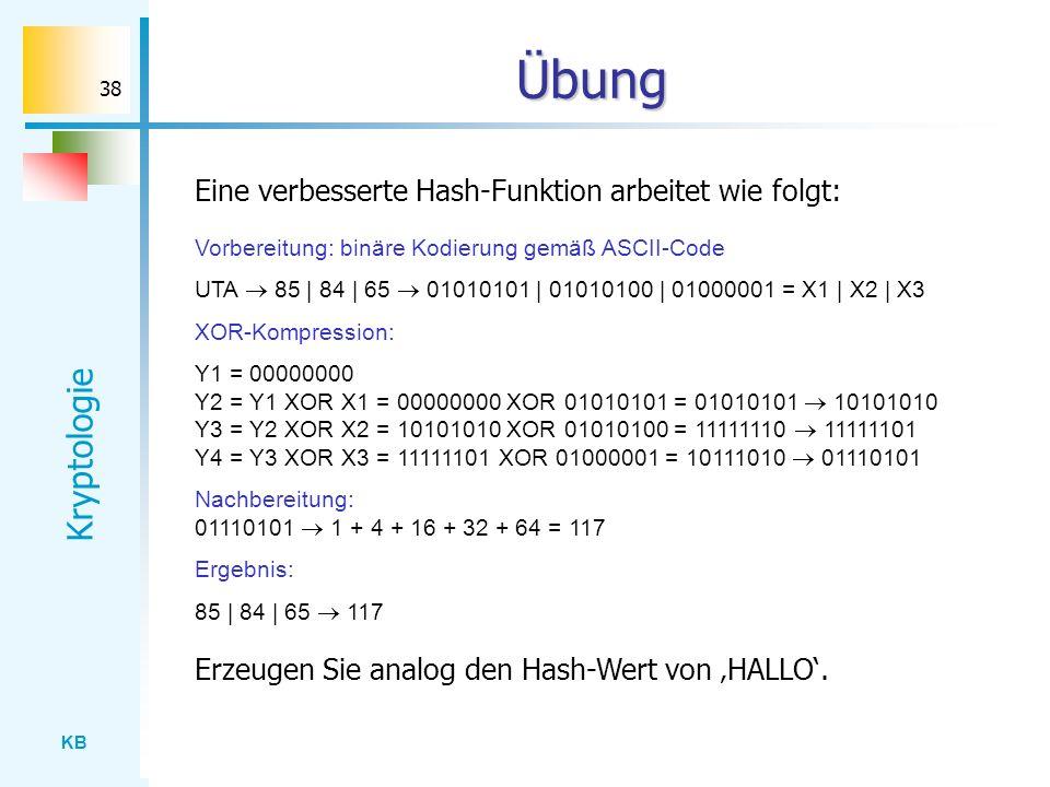 Übung Eine verbesserte Hash-Funktion arbeitet wie folgt: