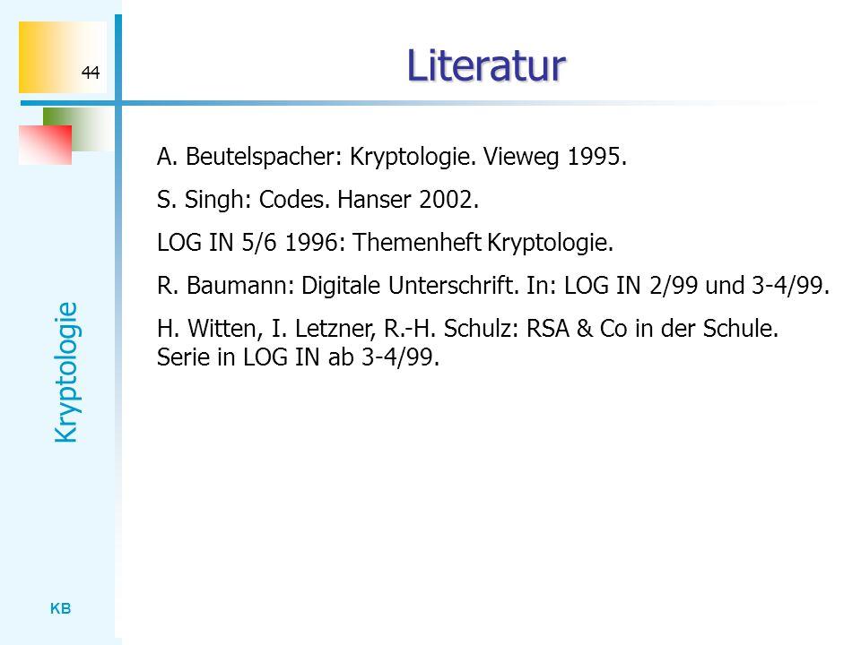 Literatur A. Beutelspacher: Kryptologie. Vieweg 1995.