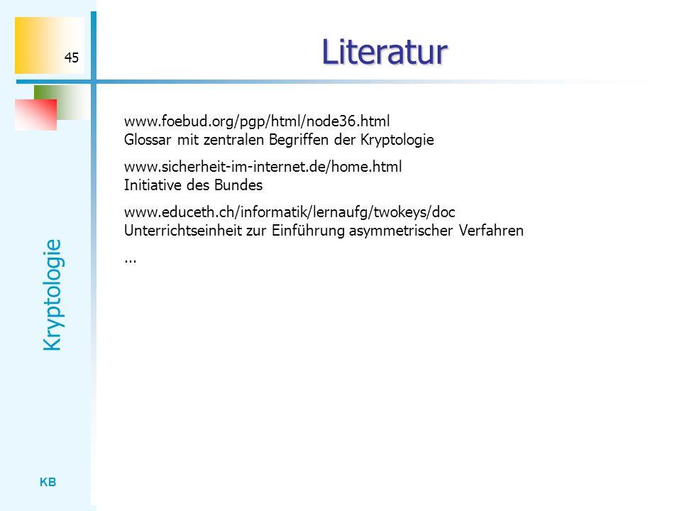 Literatur www.foebud.org/pgp/html/node36.html Glossar mit zentralen Begriffen der Kryptologie.