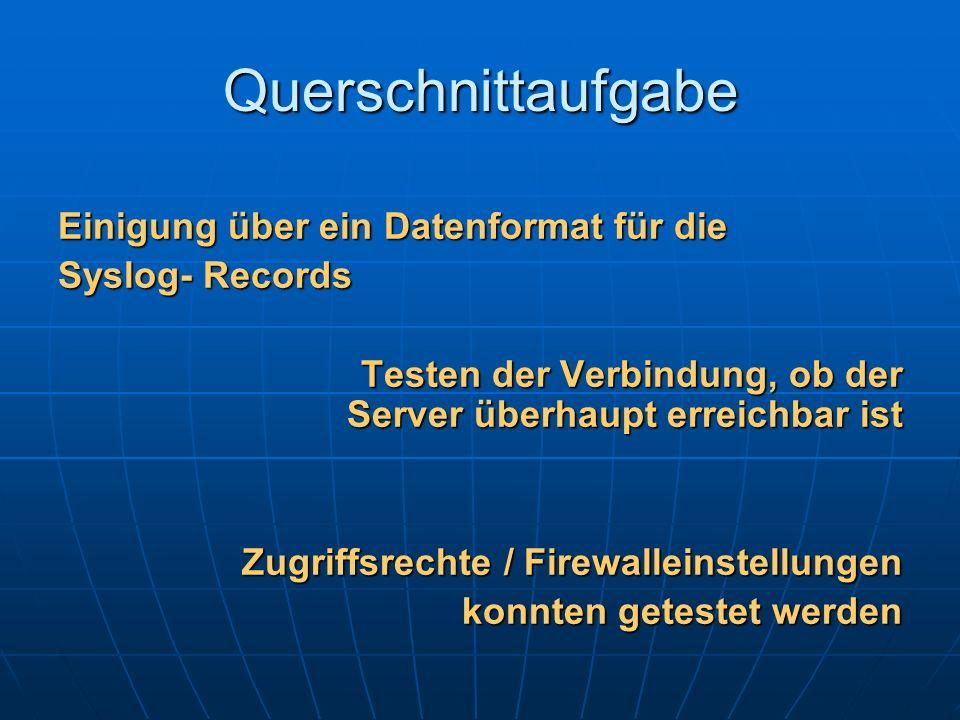 Querschnittaufgabe Einigung über ein Datenformat für die
