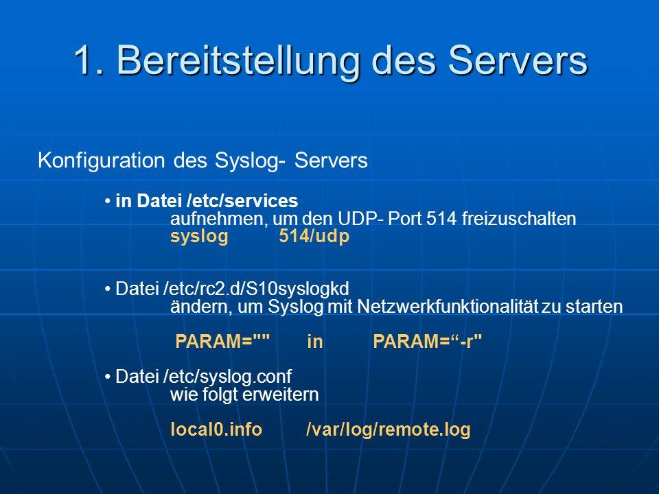 1. Bereitstellung des Servers
