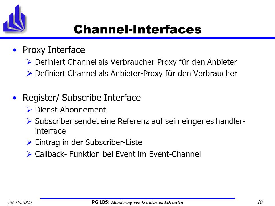 Channel-Interfaces Proxy Interface Register/ Subscribe Interface