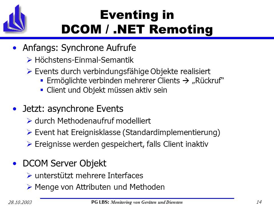 Eventing in DCOM / .NET Remoting