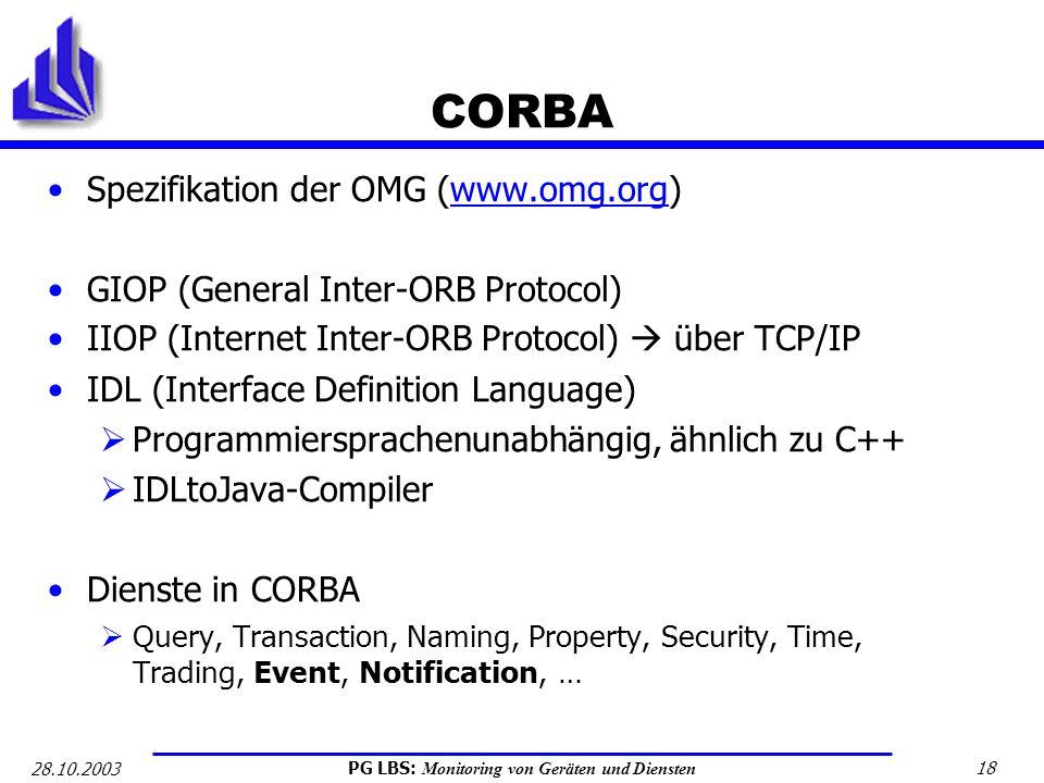 CORBA Spezifikation der OMG (www.omg.org)