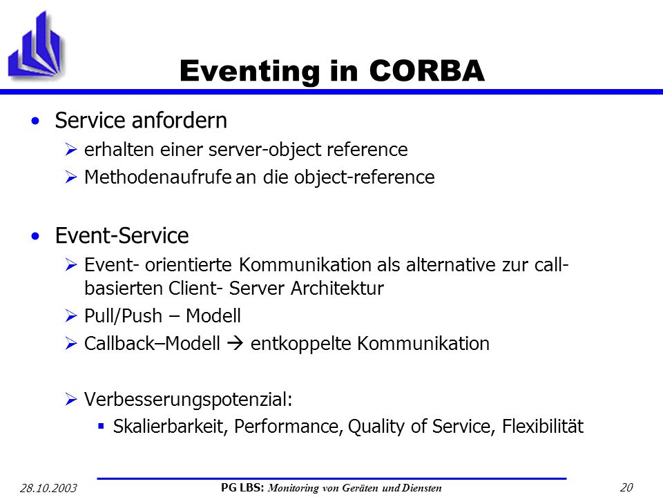 Eventing in CORBA Service anfordern Event-Service