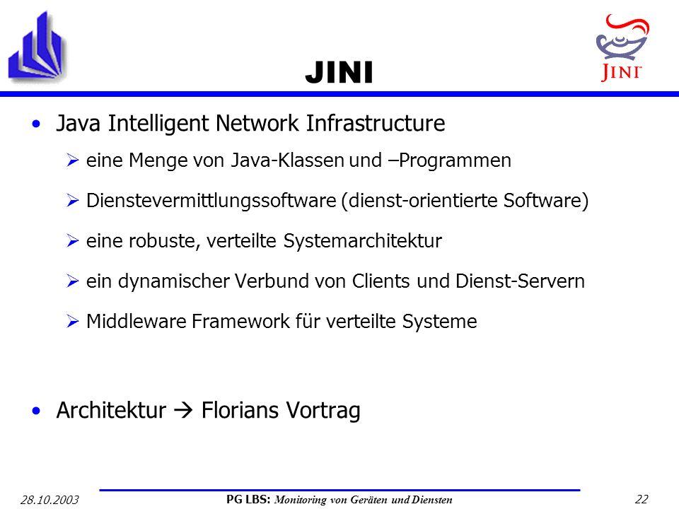 JINI Java Intelligent Network Infrastructure