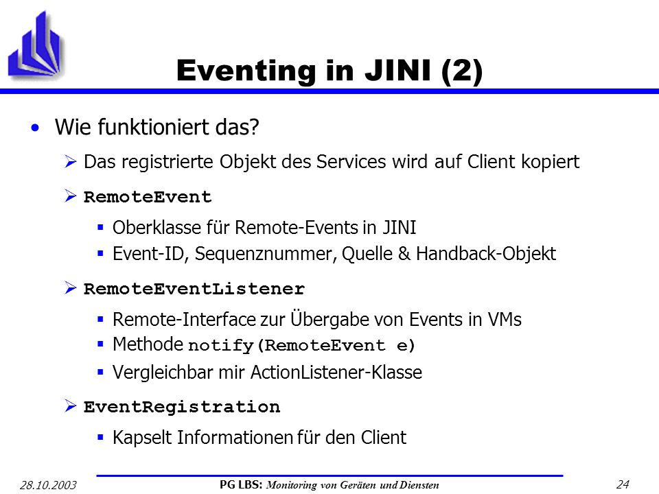 Eventing in JINI (2) Wie funktioniert das