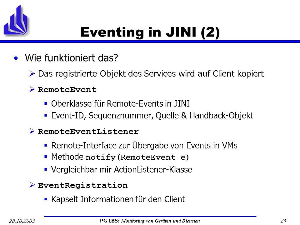 Eventing in JINI (2) Wie funktioniert das