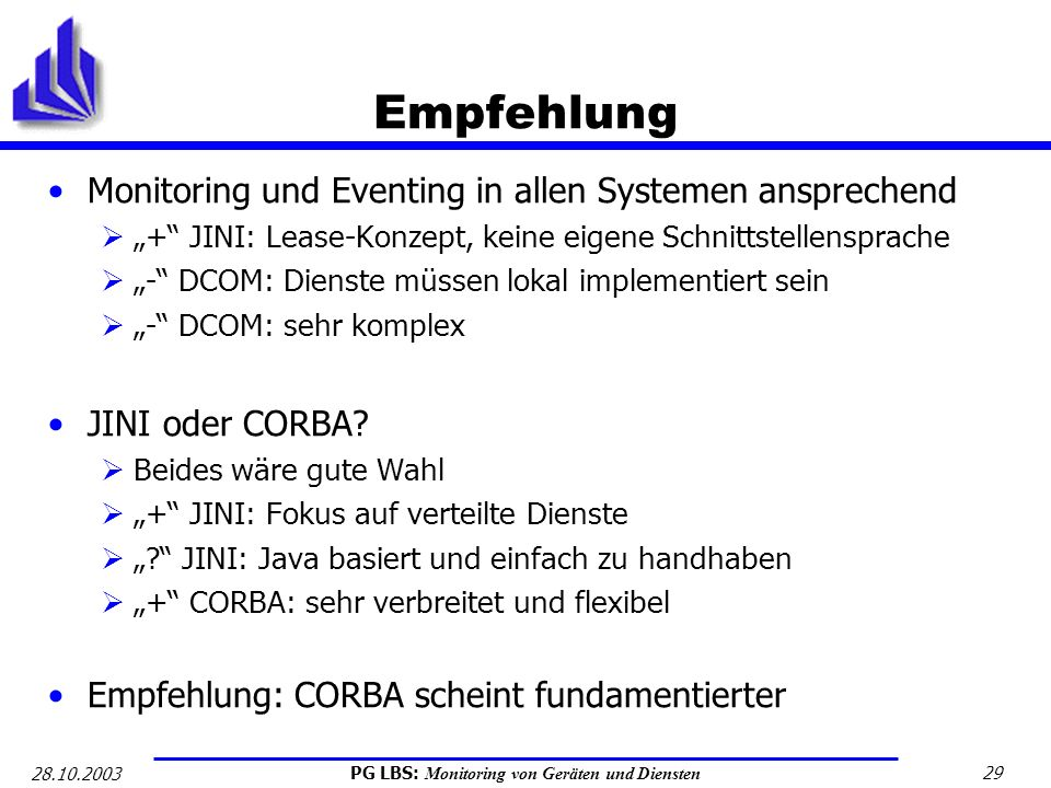 Empfehlung Monitoring und Eventing in allen Systemen ansprechend