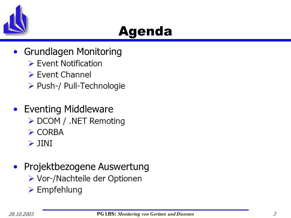 Agenda Grundlagen Monitoring Eventing Middleware