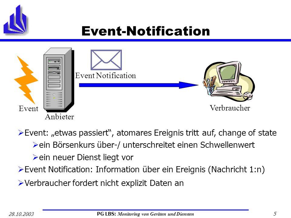 """Event-Notification Anbieter. Event Notification. Event. Verbraucher. Event: """"etwas passiert , atomares Ereignis tritt auf, change of state."""