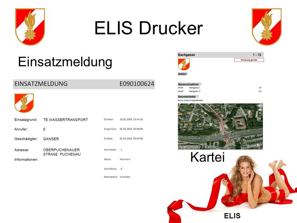 ELIS Drucker Einsatzmeldung Kartei