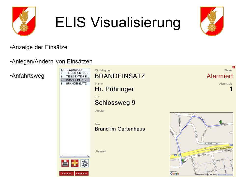 ELIS Visualisierung Anzeige der Einsätze Anlegen/Ändern von Einsätzen