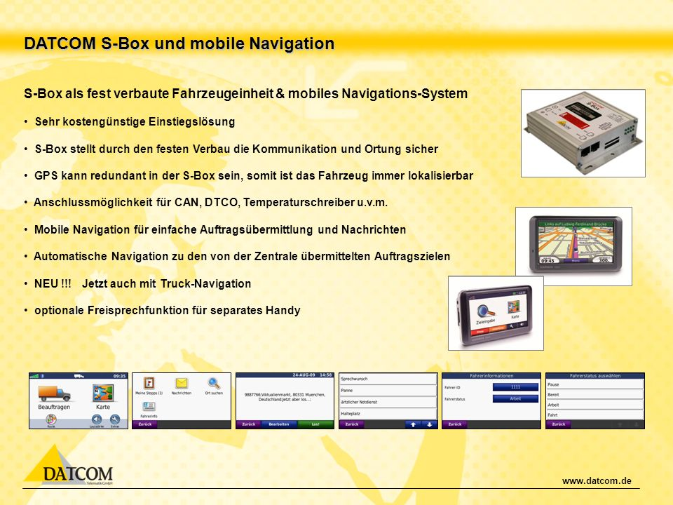 DATCOM S-Box und mobile Navigation
