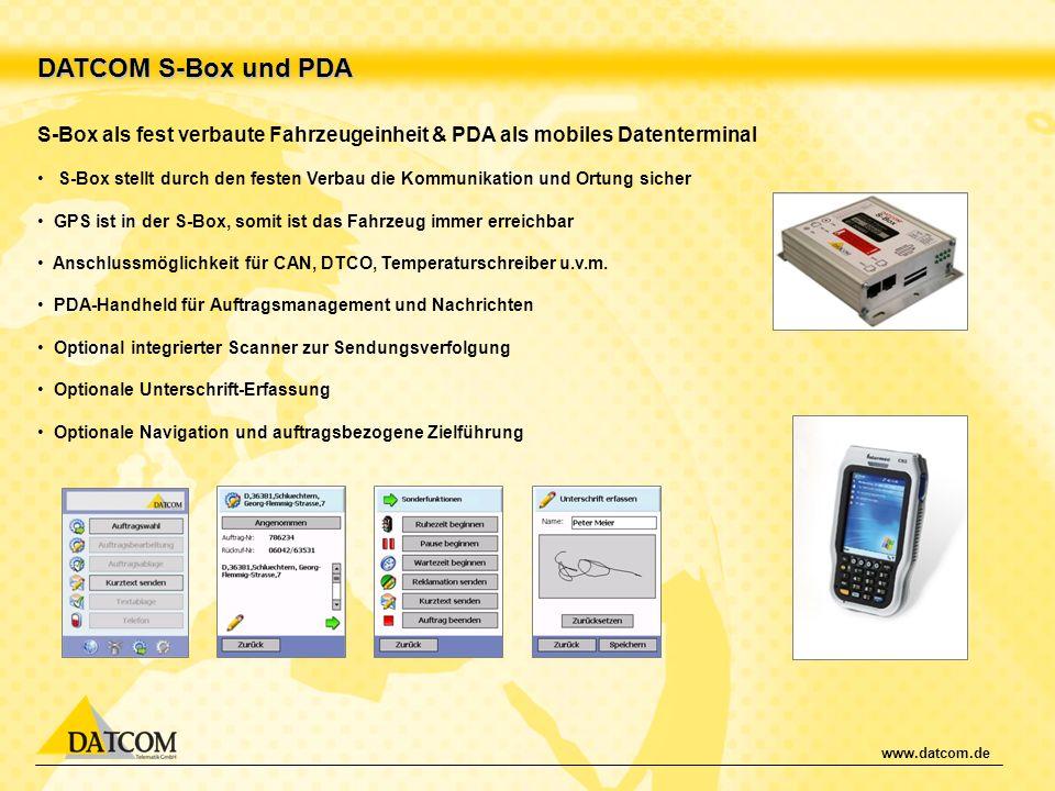 DATCOM S-Box und PDA S-Box als fest verbaute Fahrzeugeinheit & PDA als mobiles Datenterminal.