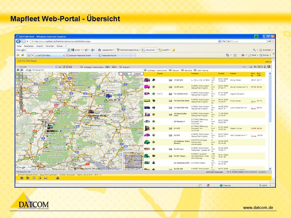 Mapfleet Web-Portal - Übersicht