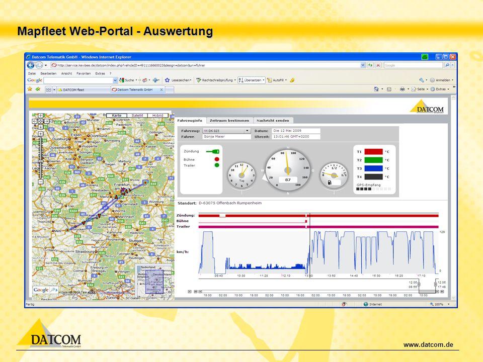 Mapfleet Web-Portal - Auswertung