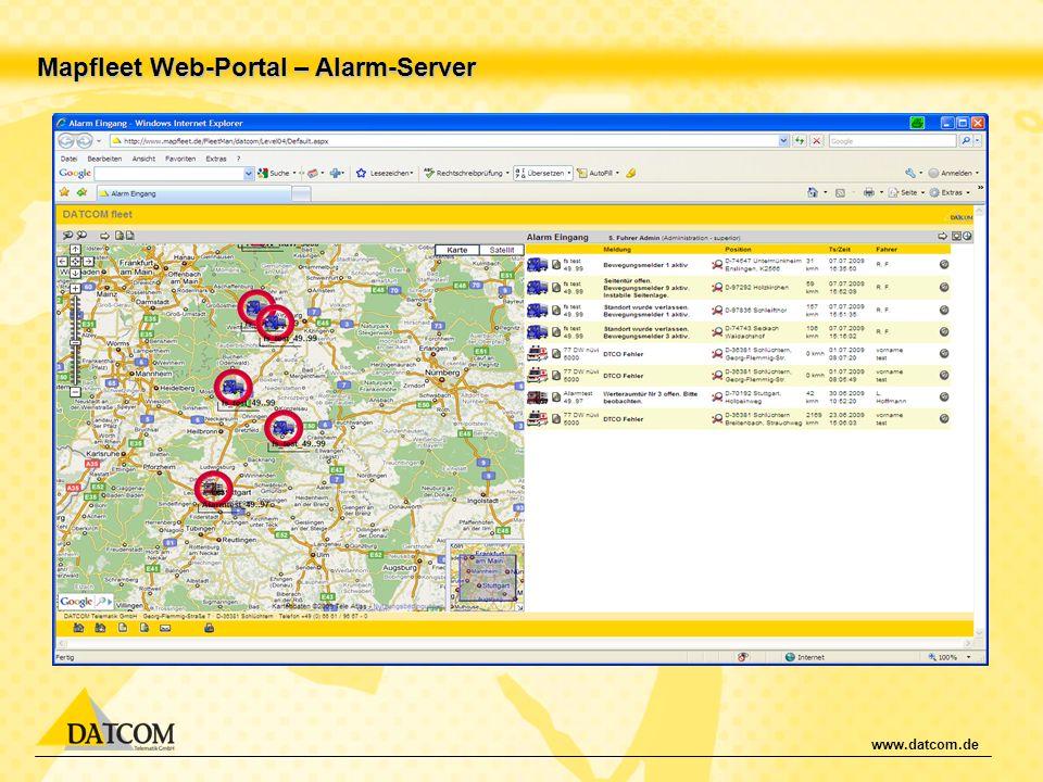 Mapfleet Web-Portal – Alarm-Server