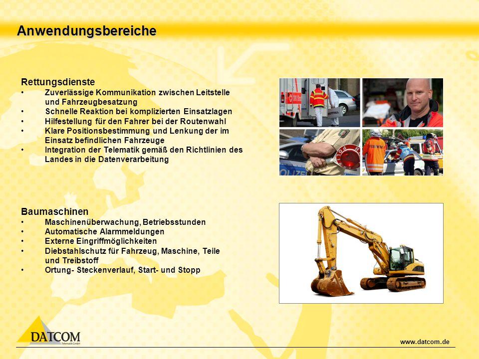 Anwendungsbereiche Rettungsdienste Baumaschinen