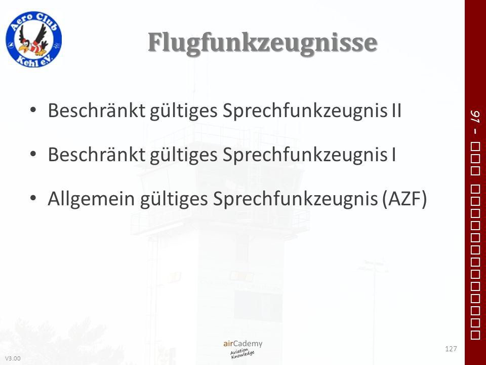 Flugfunkzeugnisse Beschränkt gültiges Sprechfunkzeugnis II