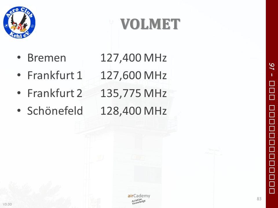 VOLMET Bremen 127,400 MHz Frankfurt 1 127,600 MHz