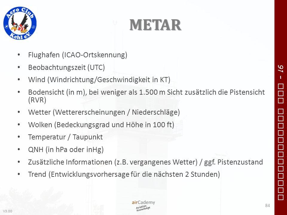METAR Flughafen (ICAO-Ortskennung) Beobachtungszeit (UTC)