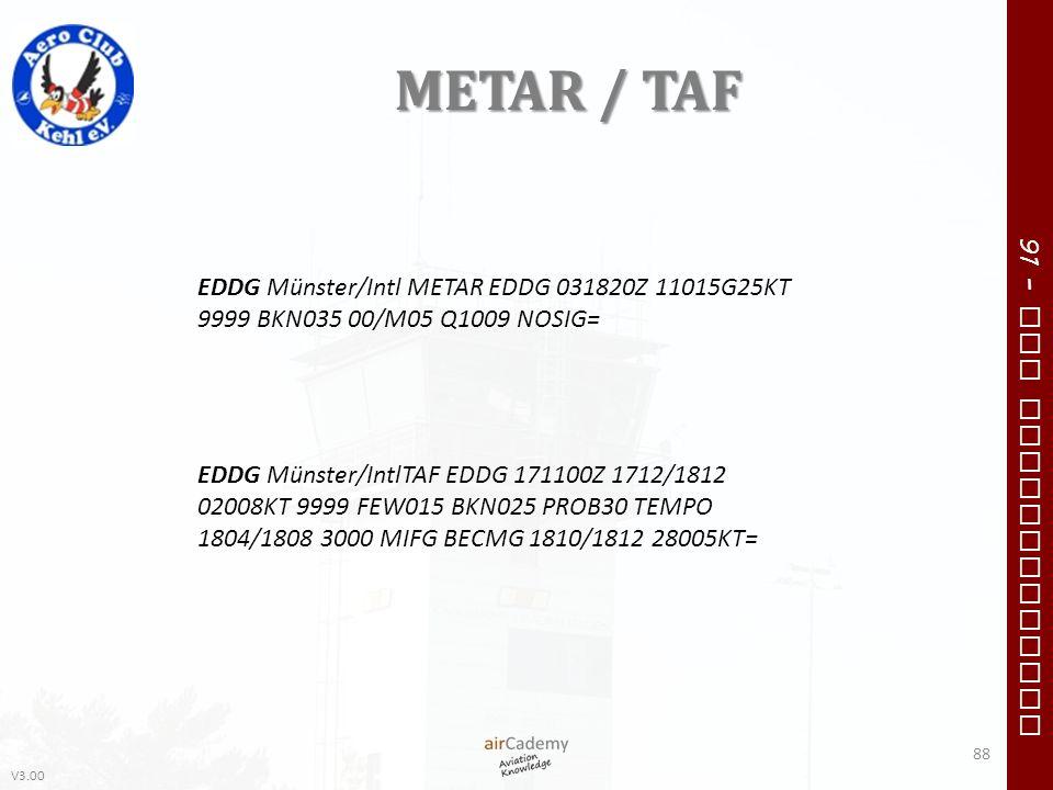 METAR / TAF EDDG Münster/Intl METAR EDDG 031820Z 11015G25KT 9999 BKN035 00/M05 Q1009 NOSIG=