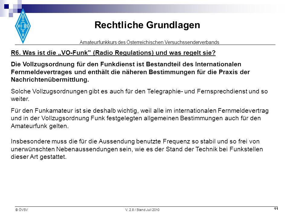 """R6. Was ist die """"VO-Funk (Radio Regulations) und was regelt sie"""