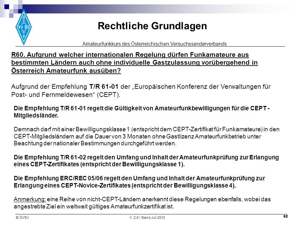 R60. Aufgrund welcher internationalen Regelung dürfen Funkamateure aus bestimmten Ländern auch ohne individuelle Gastzulassung vorübergehend in Österreich Amateurfunk ausüben