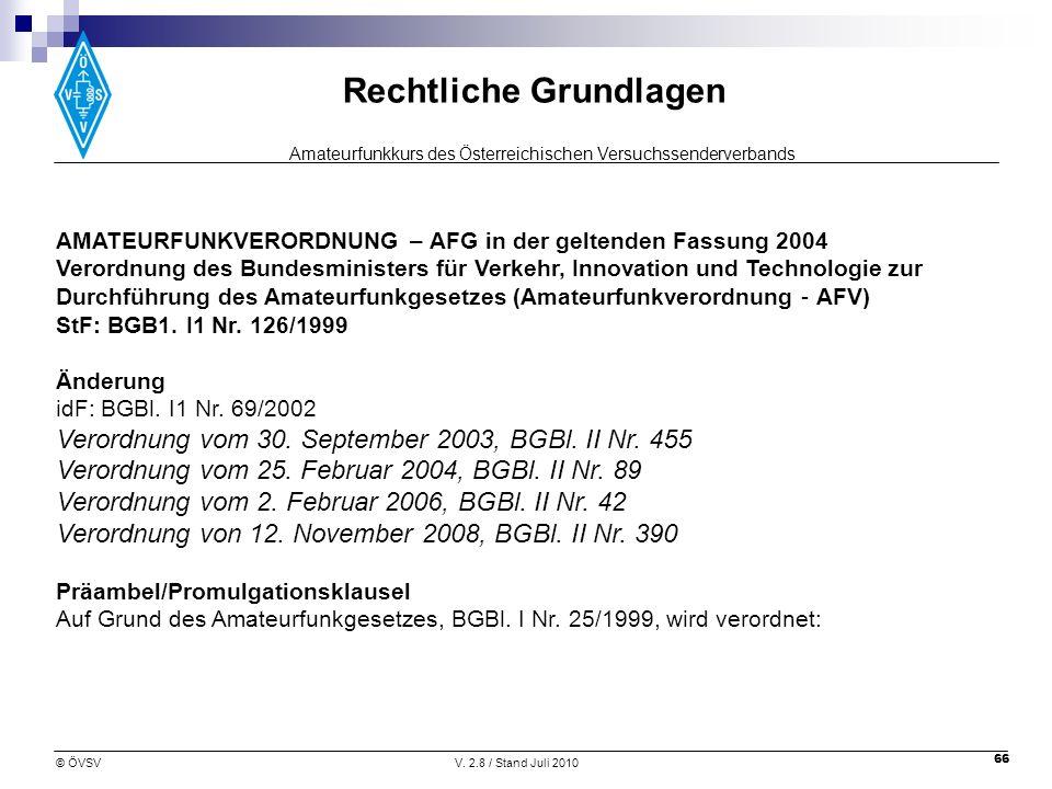 AMATEURFUNKVERORDNUNG – AFG in der geltenden Fassung 2004