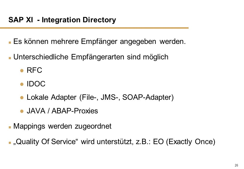 SAP XI - Integration Directory
