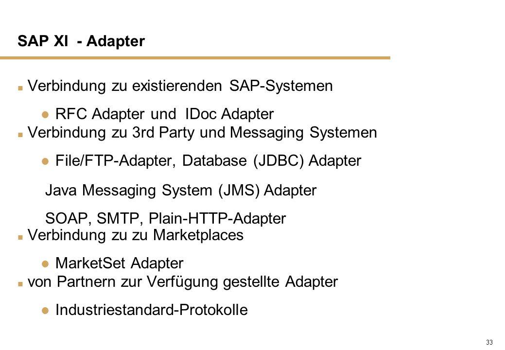 SAP XI - Adapter Verbindung zu existierenden SAP-Systemen. RFC Adapter und IDoc Adapter. Verbindung zu 3rd Party und Messaging Systemen.