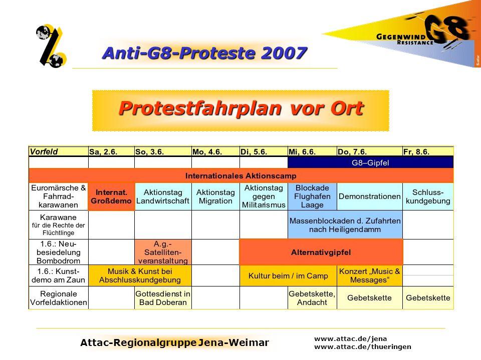 Protestfahrplan vor Ort