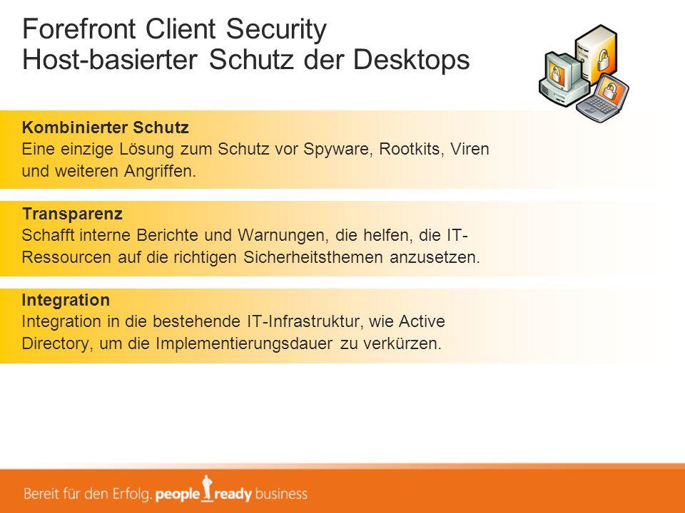 Forefront Client Security Host-basierter Schutz der Desktops
