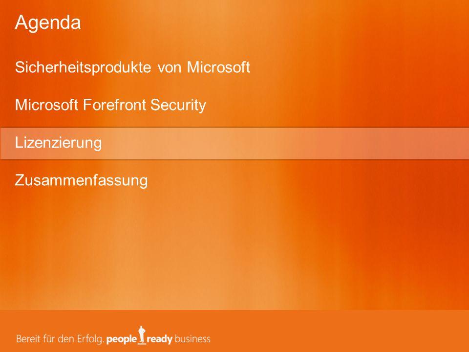 Agenda Sicherheitsprodukte von Microsoft Microsoft Forefront Security Lizenzierung.