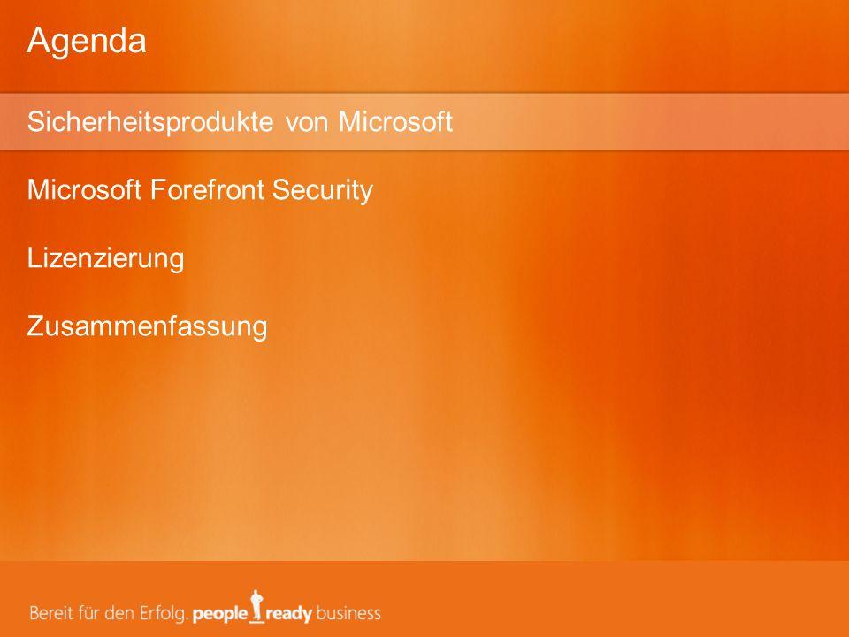 Agenda Sicherheitsprodukte von Microsoft Microsoft Forefront Security Lizenzierung Zusammenfassung.