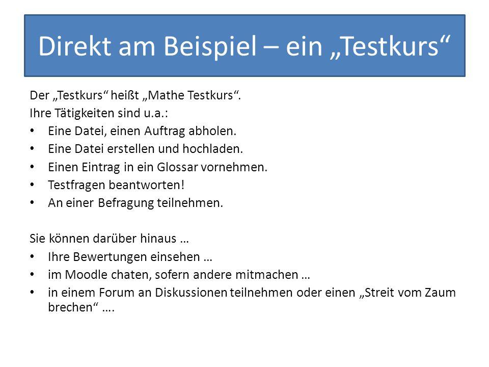 """Direkt am Beispiel – ein """"Testkurs"""