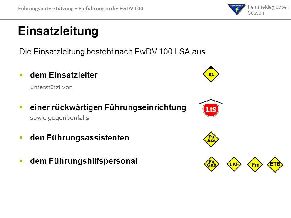 Einsatzleitung Die Einsatzleitung besteht nach FwDV 100 LSA aus
