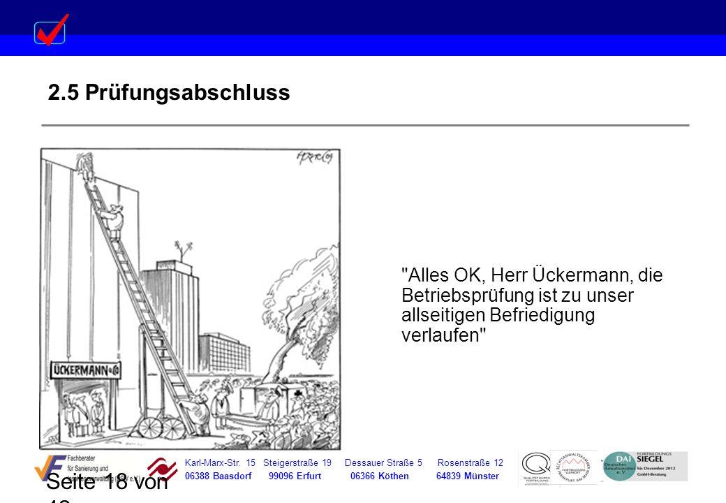 2.5 Prüfungsabschluss Alles OK, Herr Ückermann, die Betriebsprüfung ist zu unser allseitigen Befriedigung verlaufen