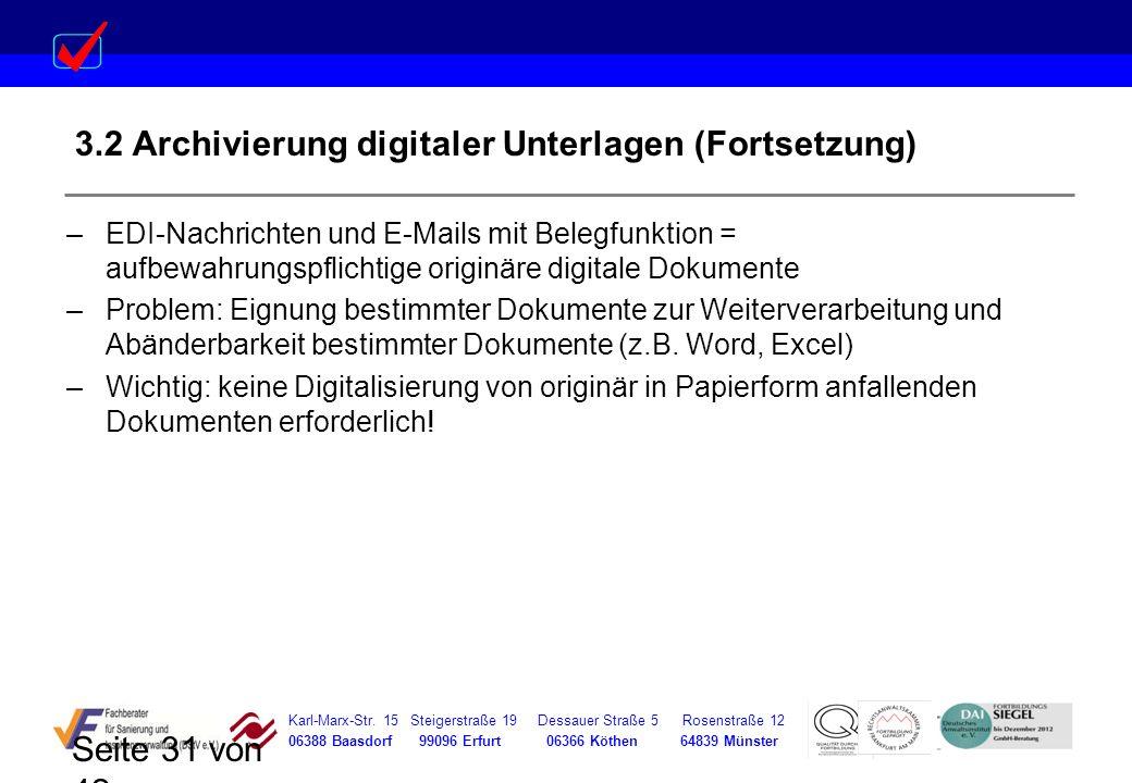 3.2 Archivierung digitaler Unterlagen (Fortsetzung)