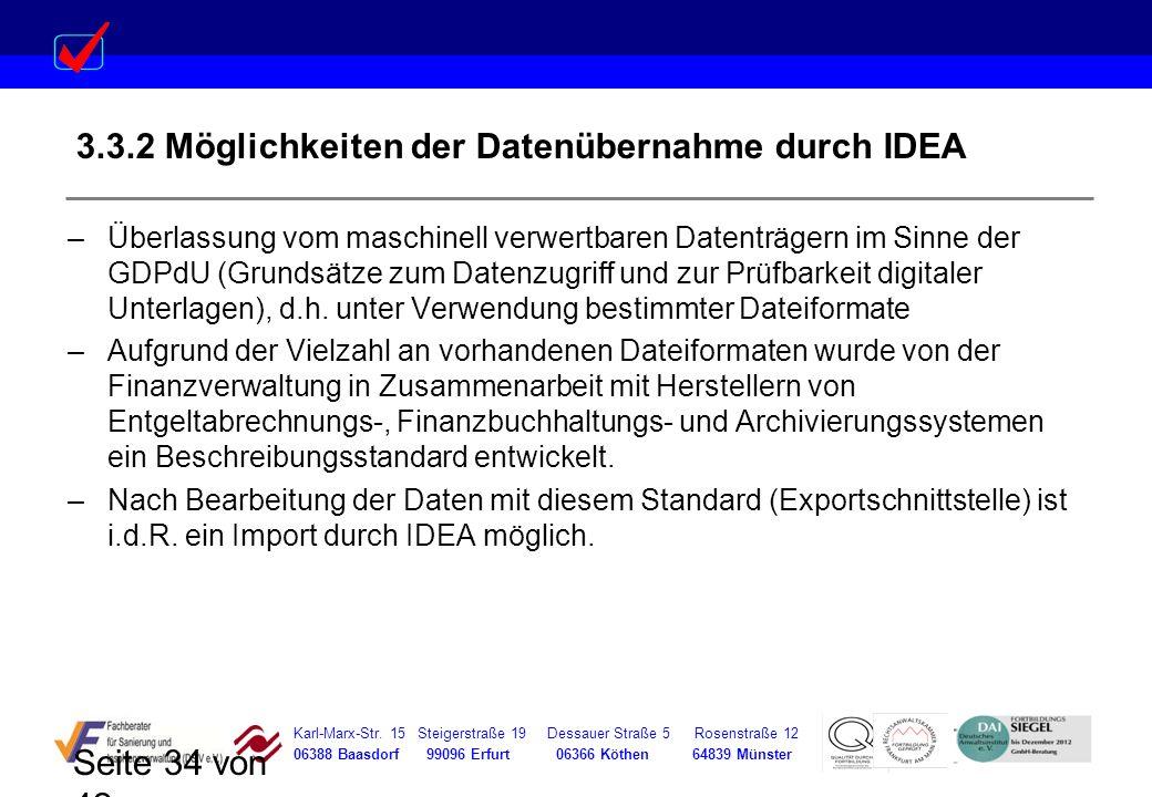 3.3.2 Möglichkeiten der Datenübernahme durch IDEA