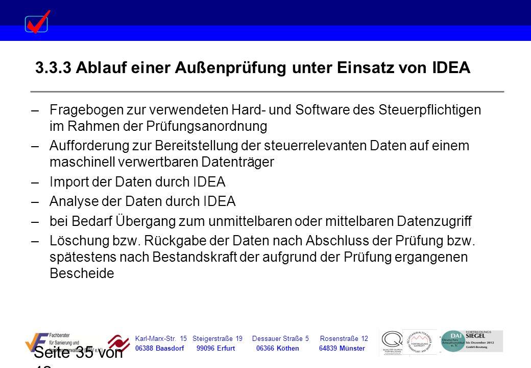3.3.3 Ablauf einer Außenprüfung unter Einsatz von IDEA