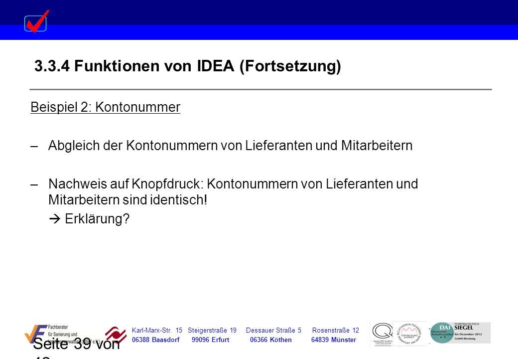 3.3.4 Funktionen von IDEA (Fortsetzung)