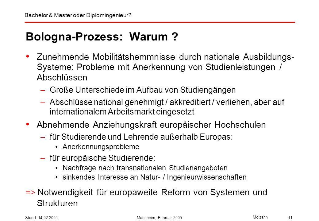 Bologna-Prozess: Warum