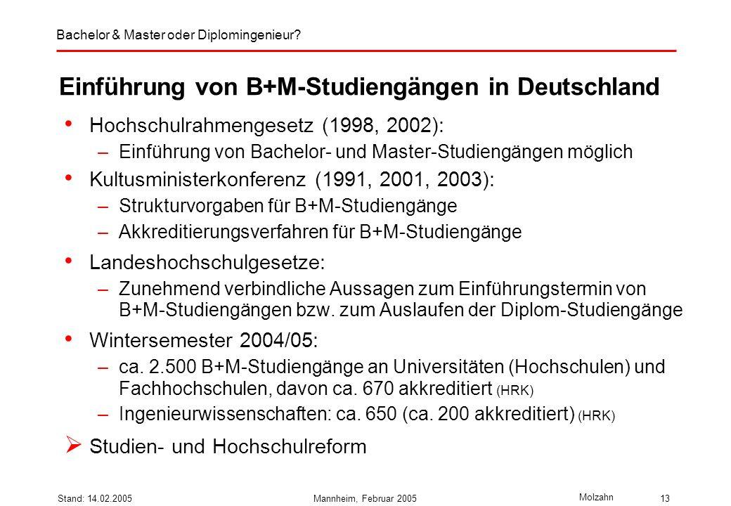 Einführung von B+M-Studiengängen in Deutschland