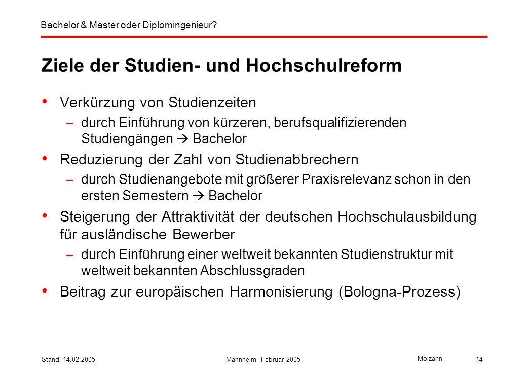 Ziele der Studien- und Hochschulreform