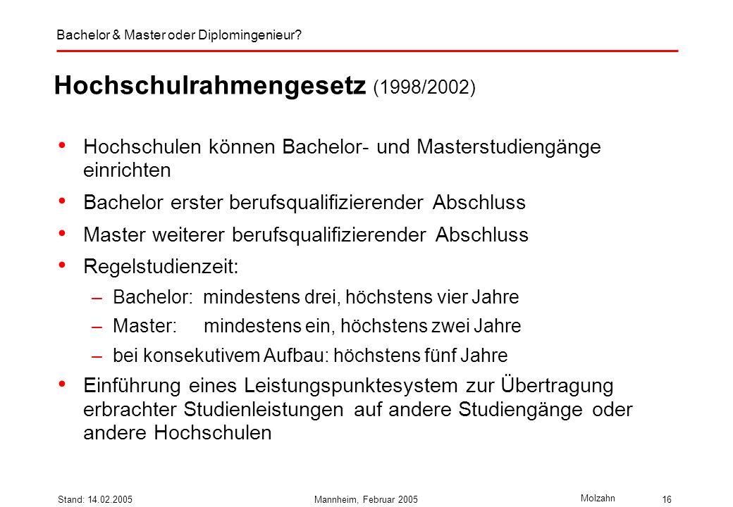 Hochschulrahmengesetz (1998/2002)