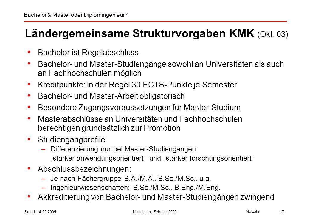 Ländergemeinsame Strukturvorgaben KMK (Okt. 03)