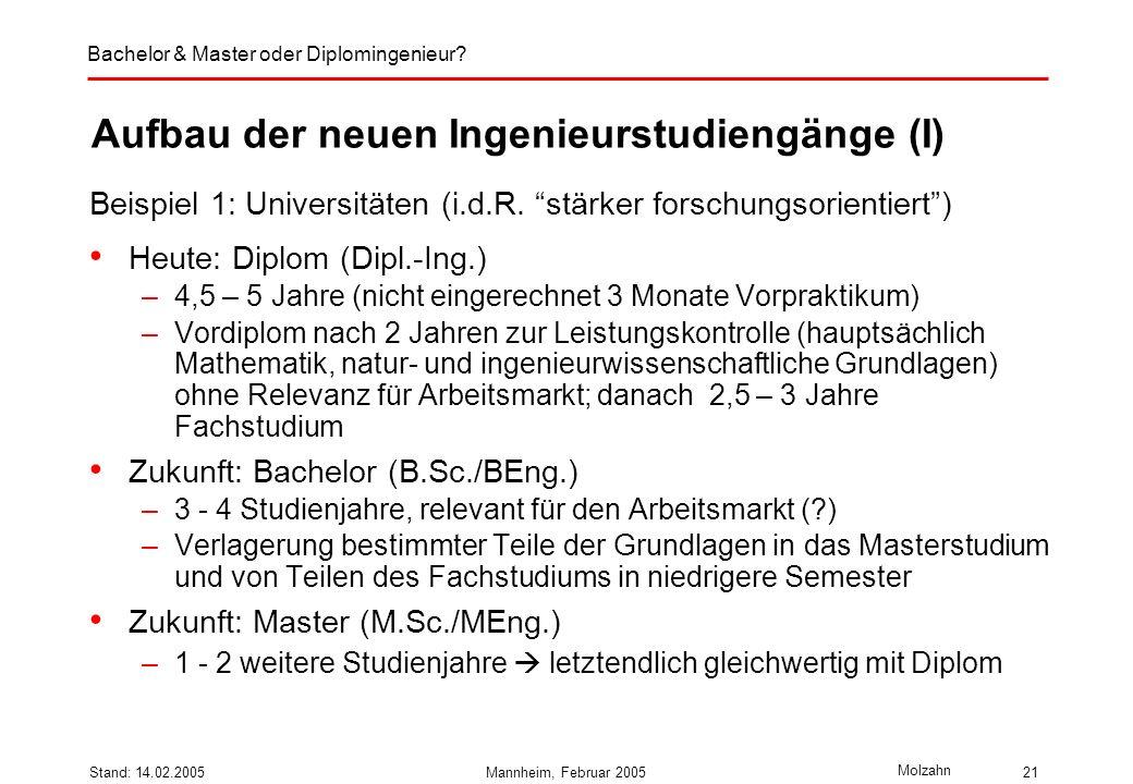 Aufbau der neuen Ingenieurstudiengänge (I)