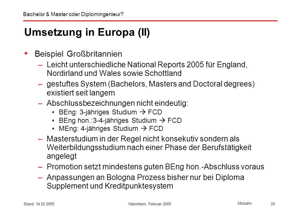 Umsetzung in Europa (II)
